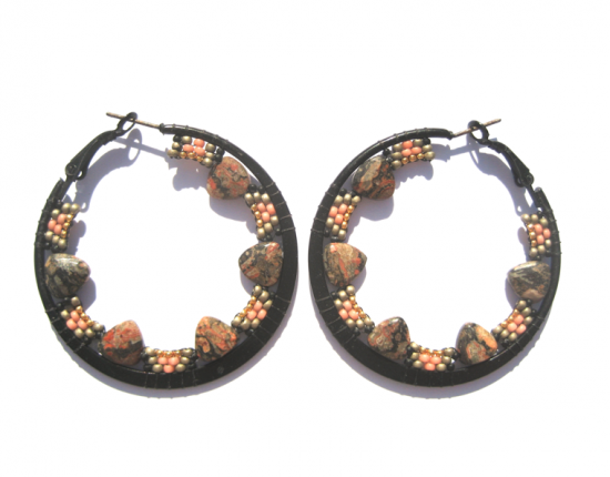 Gemstone Spike Hoops, leap skin jasper