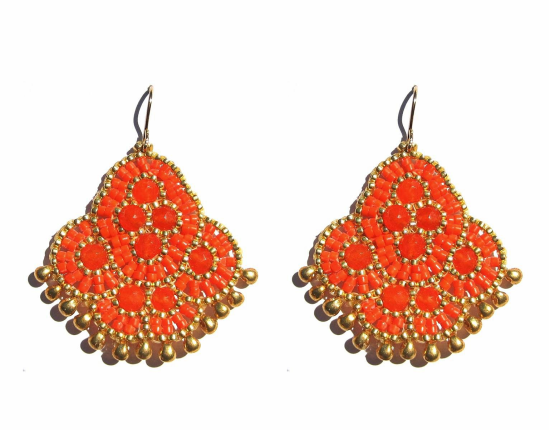 Andalucia Earrings, orange jade