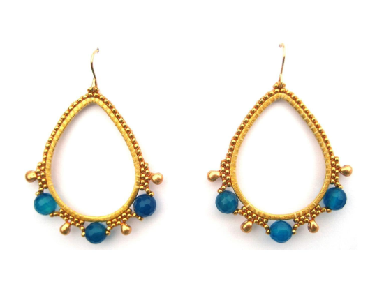 Gemstone Teardrops, blue jade