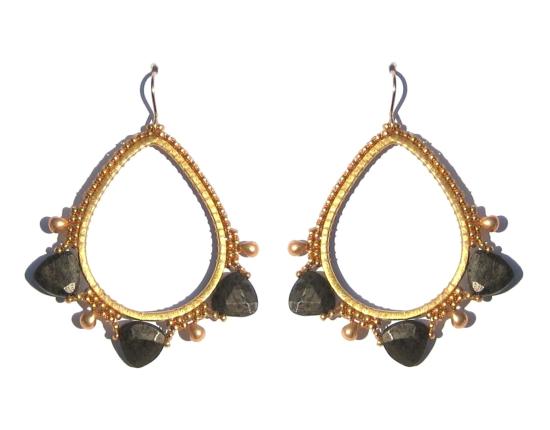 Gemstone Teardrops, pyrite