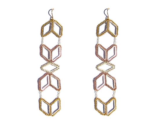 Jointed Totem Earrings, metallic