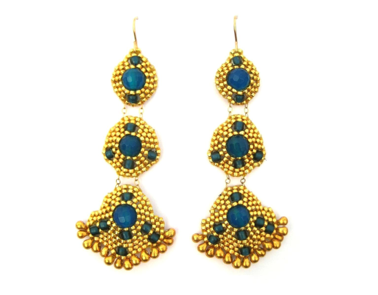 Orion Chandelier Earrings, blue jade