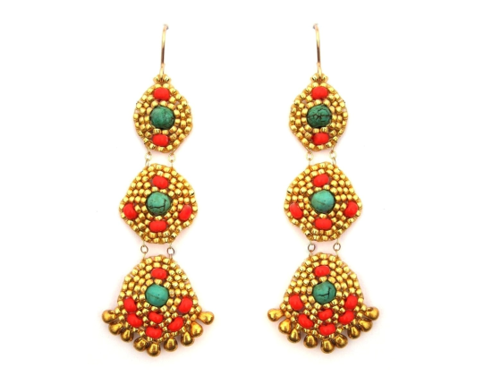 Orion chandelier earrings, howlite and coral glass