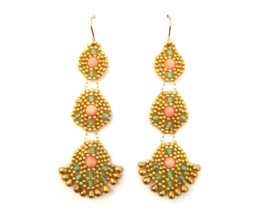 Orion chandelier earrings, pink coral
