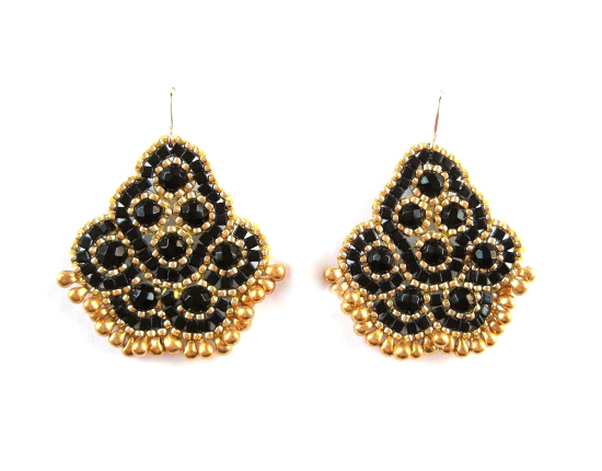 Andalucia Earrings, onyx and gold