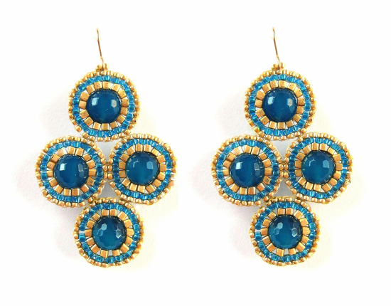 Dottie Quartet Earrings, cobalt blue