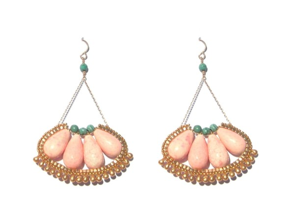 Laloo - Cactus Bloom Earrings, coral and howlite