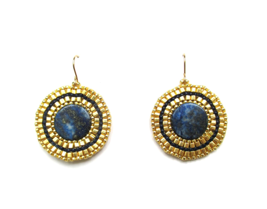Bullseye Solo Earrings, lapis