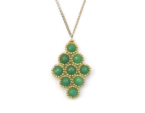 Dottie Diamond Pendant, green jade