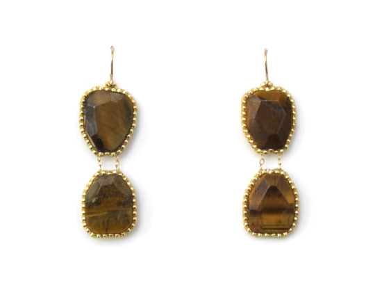 Hard Candy Earrings, tigerseye and gold