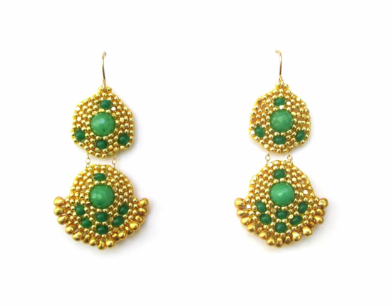 Orion Duo Earrings, green jade