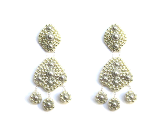 Orion Duo Earrings, silver Swarovski pearl