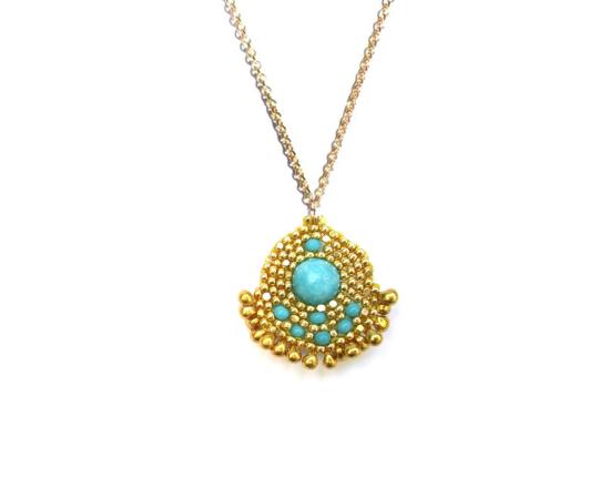Orion Pendant, turquoise jade