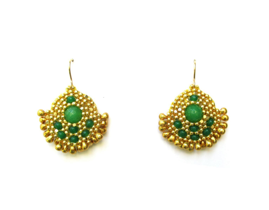 Orion Solo Earrings, emerald jade