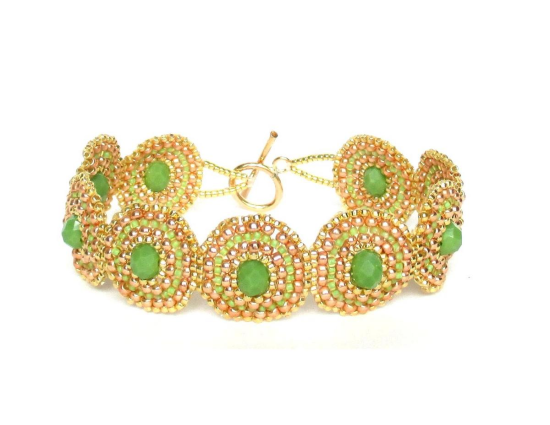 Laloo – Bullseye Bracelet, green glass