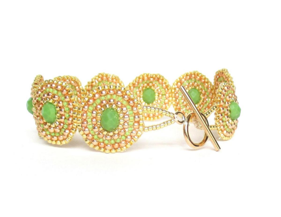 Laloo – Bullseye Bracelet, green glass, back