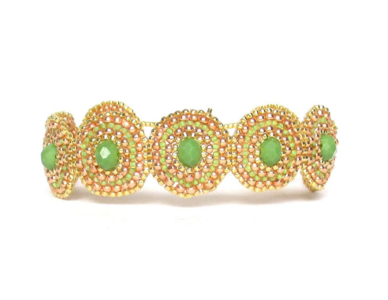 Laloo – Bullseye Bracelet, green glass, front