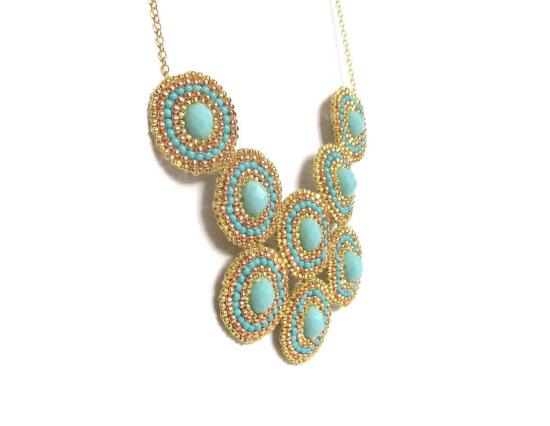 Laloo – Bullseye Necklace, blue glass, side