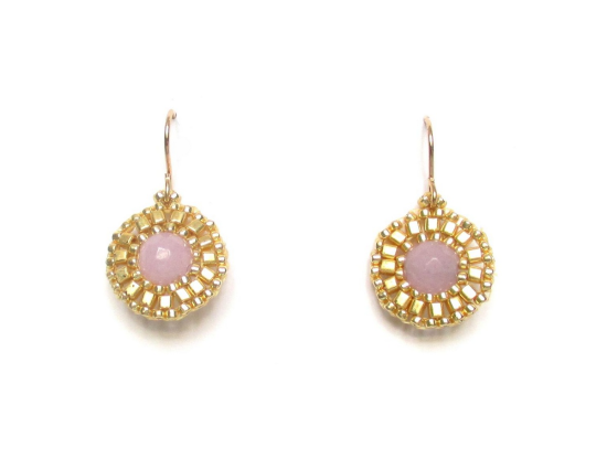 Laloo – Dottie Earrings, lavender jade and gold