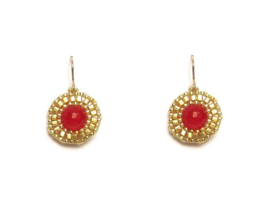 Laloo – Dottie Earrings, red jade