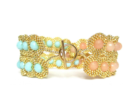 Laloo – Dottie Two Lane Cuff, pink jade and mint glass, back