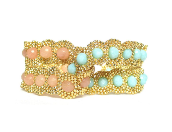 Laloo – Dottie Two Lane Cuff, pink jade and mint glass, front