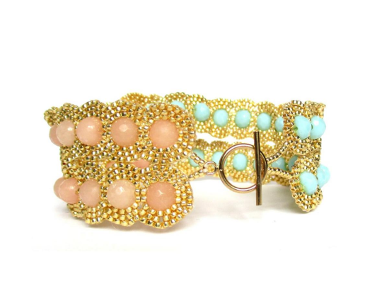 Laloo – Dottie Two Lane Cuff, pink jade and mint glass, side