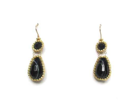 Laloo – Exclamation Earrings, obsidian