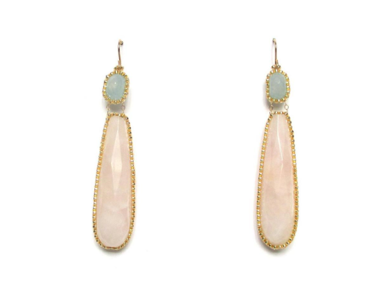 Laloo – Exclamation Earrings, pink quartz and aquamarine, large
