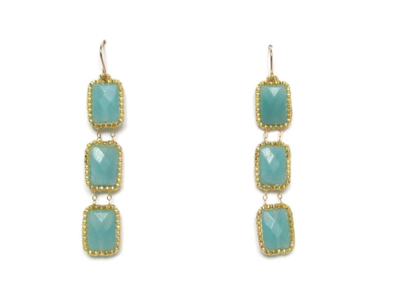 Laloo – Gemstone Trio Earrings, amazonite