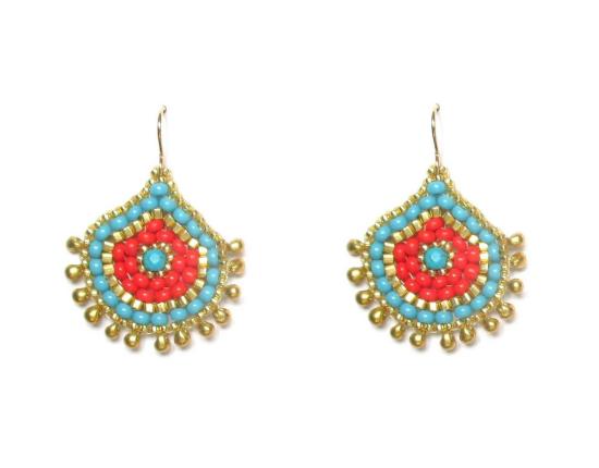 Laloo – Keilani Teardrop Earrings, howlite coral