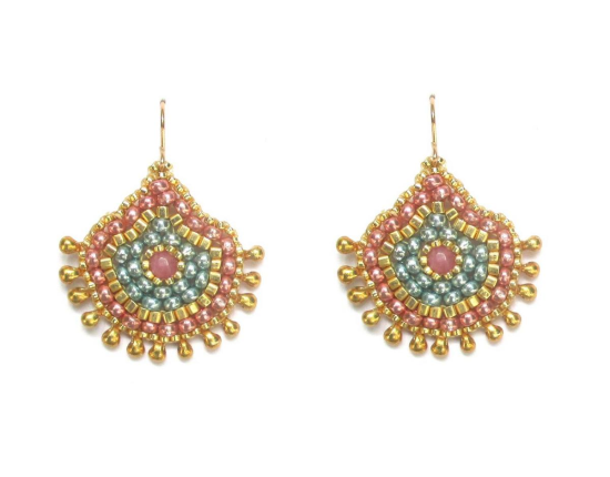 Laloo – Keilani Teardrop Earrings, pink jade and vintage glass