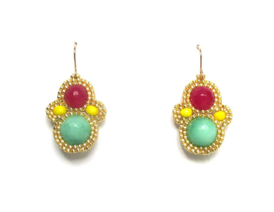 Laloo – Matryoshka Earrings, green and raspberry jade