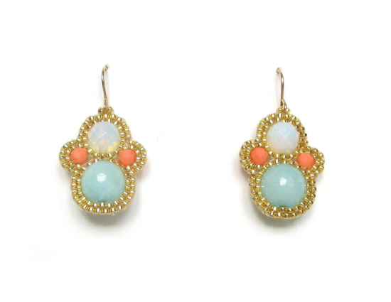 Laloo – Matryoshka Earrings, light blue jade, moonstone and coral howlite