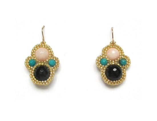 Laloo – Matryoshka Earrings, onyx, blush jade and malechite