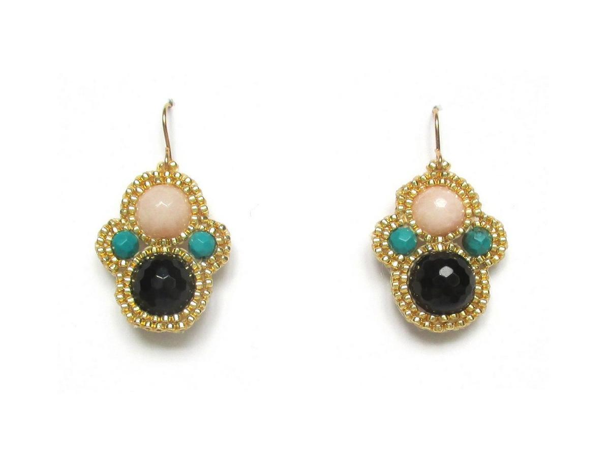Laloo Matryoshka Earrings Onyx Blush Jade And Malechite