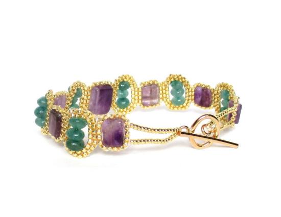 Laloo – Mosaic Bracelet, amethyst and aventurine, back