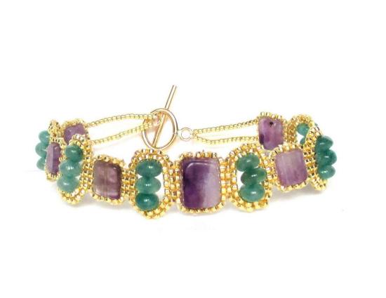 Laloo – Mosaic Bracelet, amethyst and aventurine