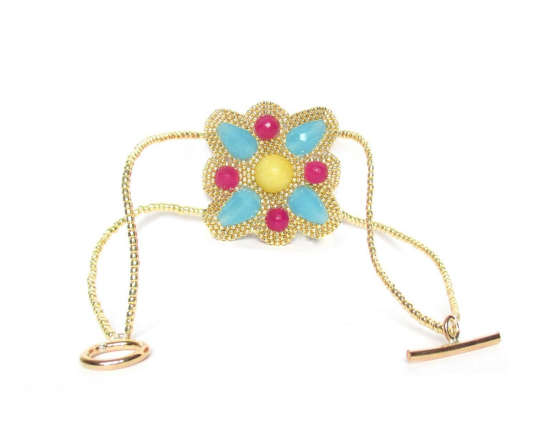 Laloo – North Star Bracelet, yellow and pink jade