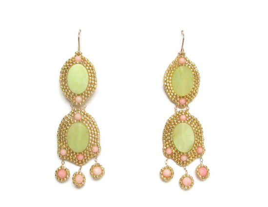 Laloo – Orion Chandeliers with Comets, lime agate and pink coral