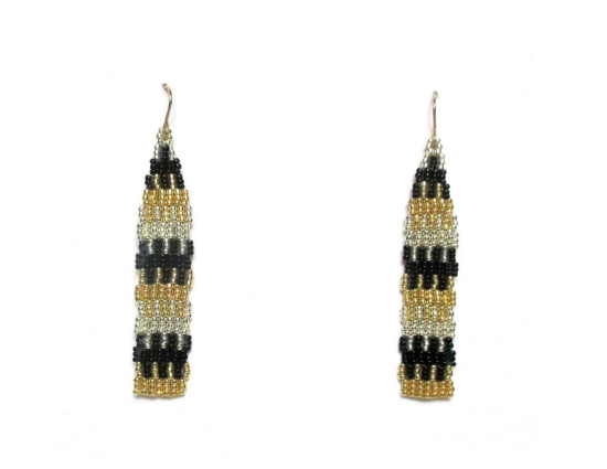 Laloo – Pillar Earrings, tapestry black silver and gold