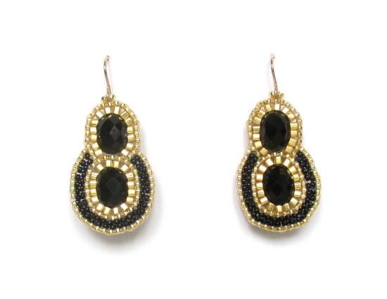 Laloo – Reflection Earrings, black glass