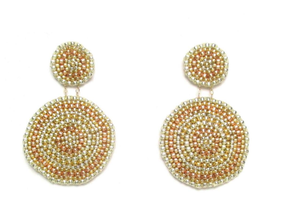 Laloo – Sand Dollar Earrings, gold silver and rose gold glass, large