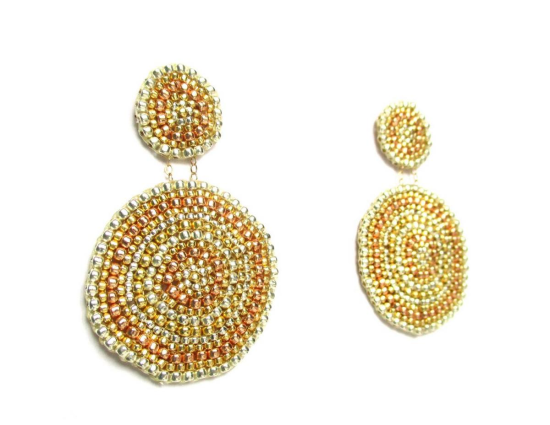 Laloo – Sand Dollar Earrings, gold silver and rose gold glass, large side