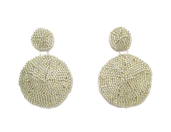 Laloo – Sand Dollar Earrings, silver, large