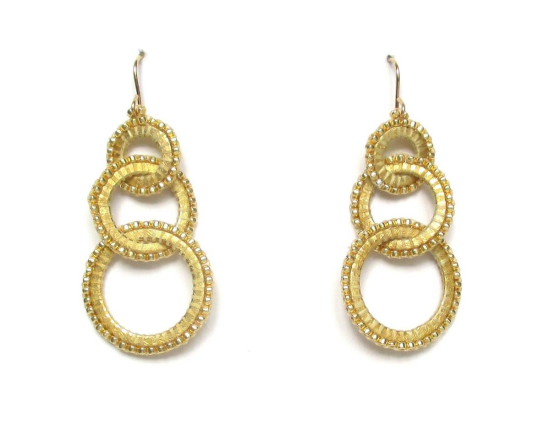 Laloo – Three Ring Earrings, glass