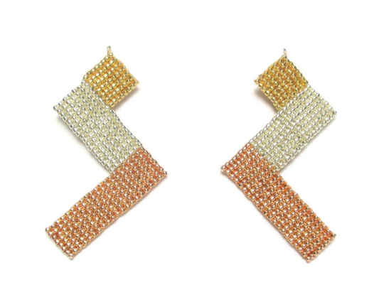 Laloo – Zig Zag Earrings, gold silver and rose gold, medium