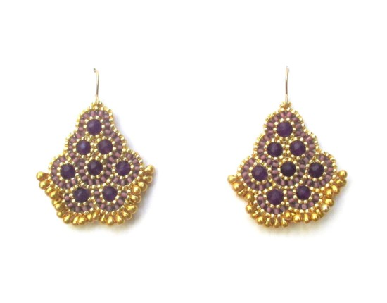 Laloo – Andalucia Earrings, deep purple jade with gold