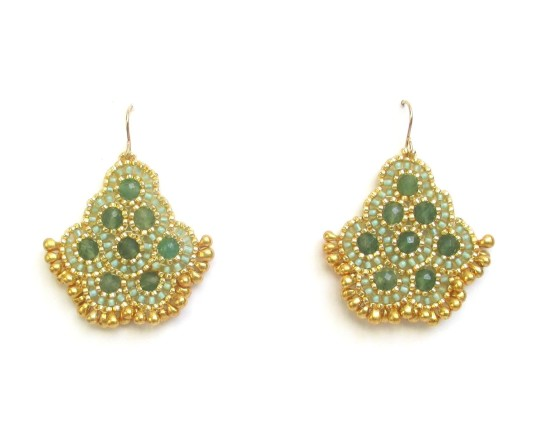 Laloo – Andalucia Earrings, green jade with gold