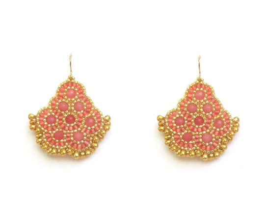 Laloo – Andalucia Earrings, rose jade with gold glass beads
